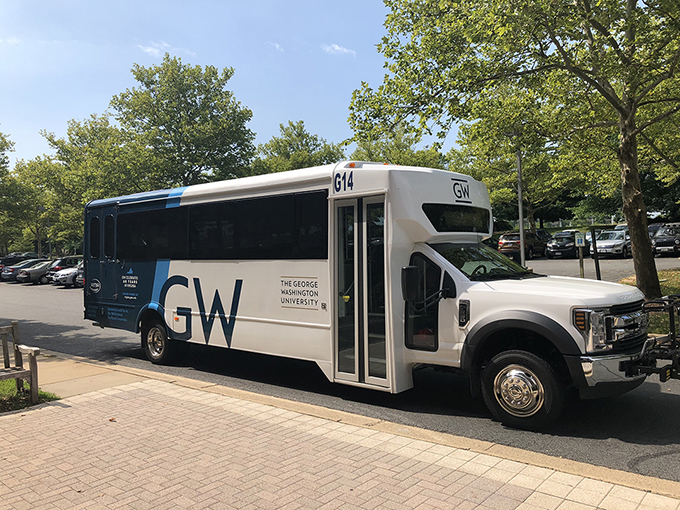 picture of new shuttle bus painted with GW colors and logo