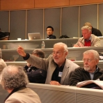 Conference attendee asks a question