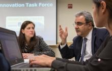 Dean Ali Eskandarian presents ideas for the campus at the ITF Showcase.