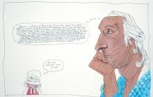 Caricature of George and Martha Washington