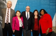 President LeBlanc with 4 CPS employees-Chris Deering, Rosa Martinez, Maria Escoto and Pamela Porter (GW/William Atkins).