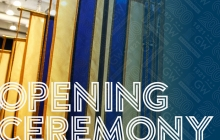 GW Opening Ceremony for Bicentennial with colored blue and gold lines