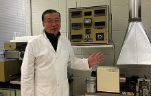 Prof. Hsu with the friction machine
