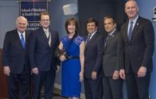 From left to right: Steven Knapp, Kevin Pelphrey, Michele Carbonell, Nelson Carbonell, Forrest Maltzman, Jeffrey Akman.