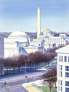 "Washington Monument View, watercolor 22"" x 15"""